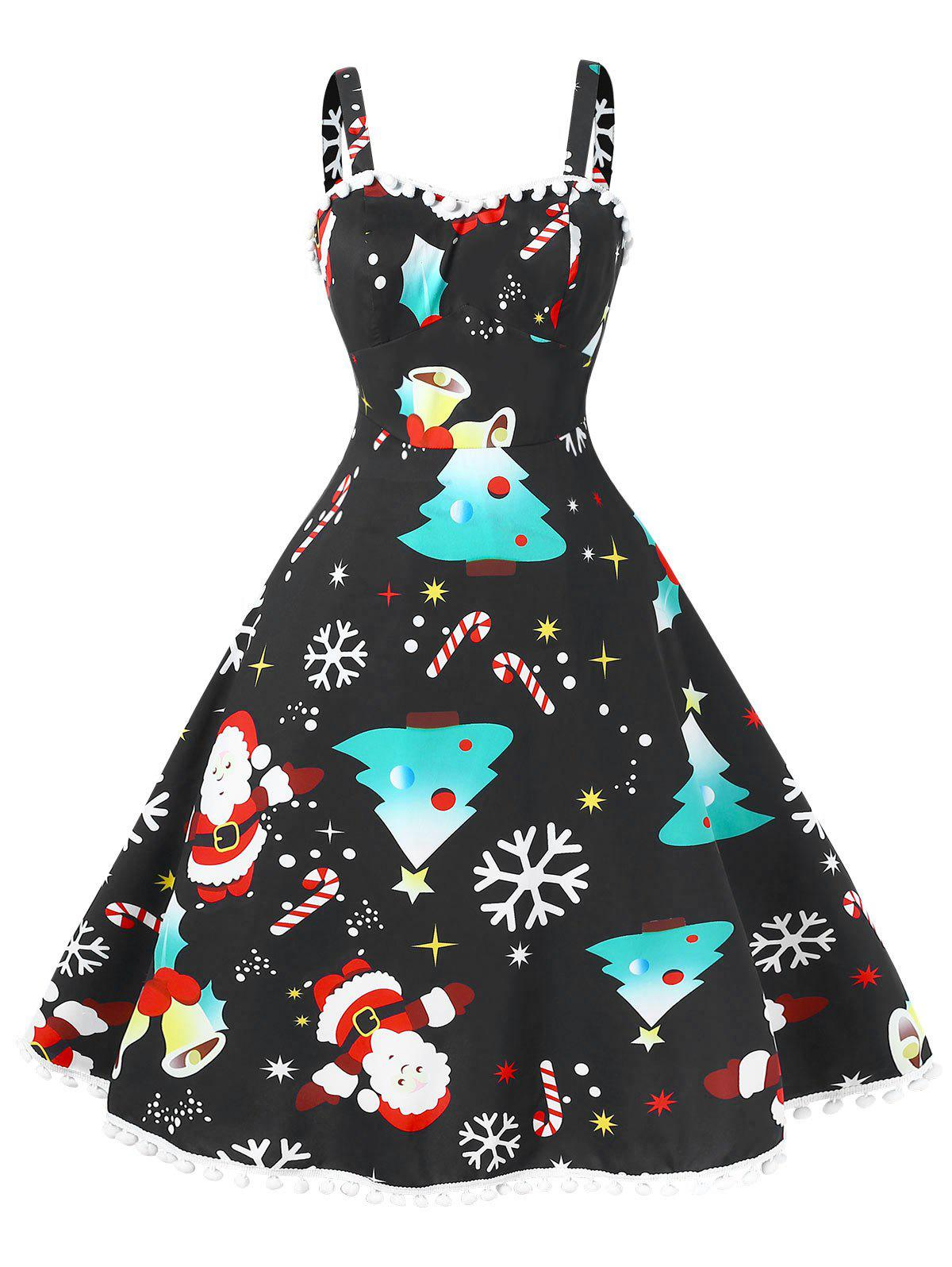 Shop Vintage Pompom Plus Size Christmas Dress