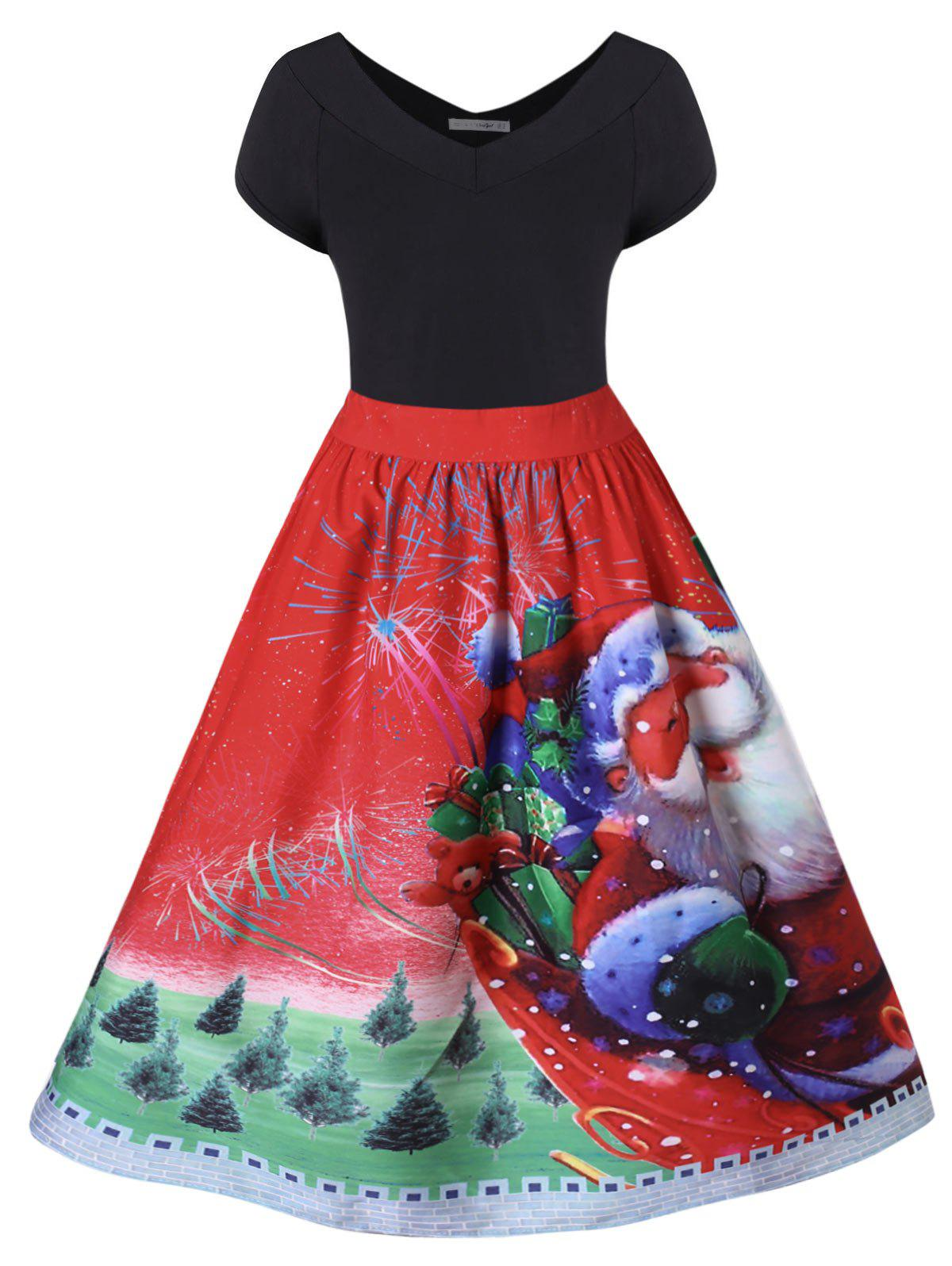 Hot Plus Size Christmas Santa Claus Flare Dress