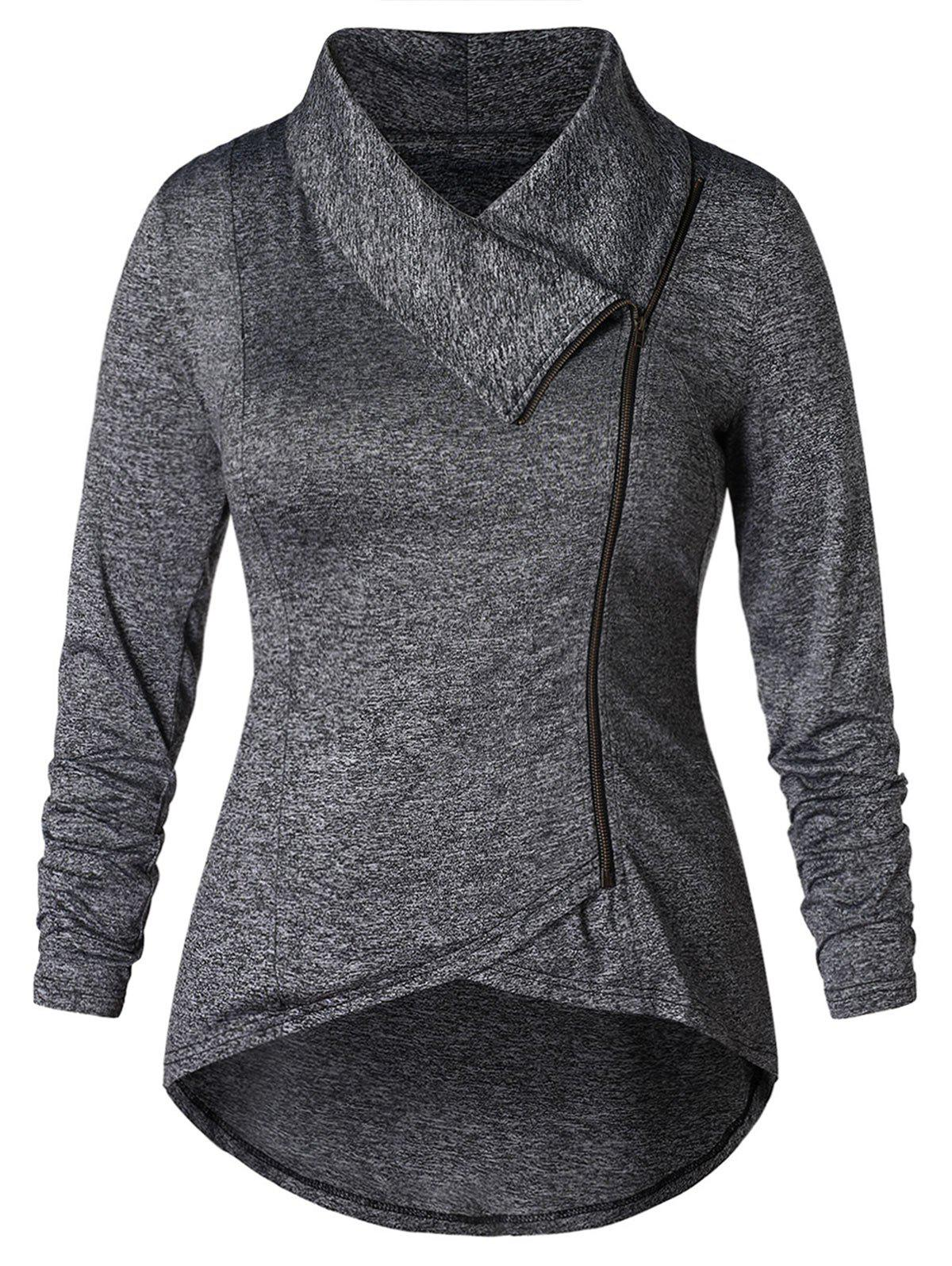 Outfits Plus Size Skew Zip High Low Jacket
