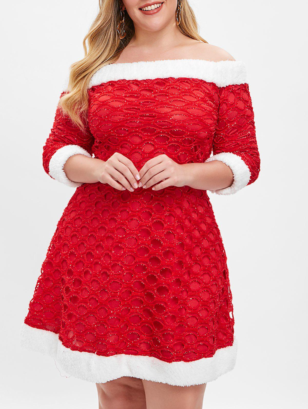 743296bf378e 39% OFF] Christmas Fluffy Plus Size Off Shoulder Dress | Rosegal