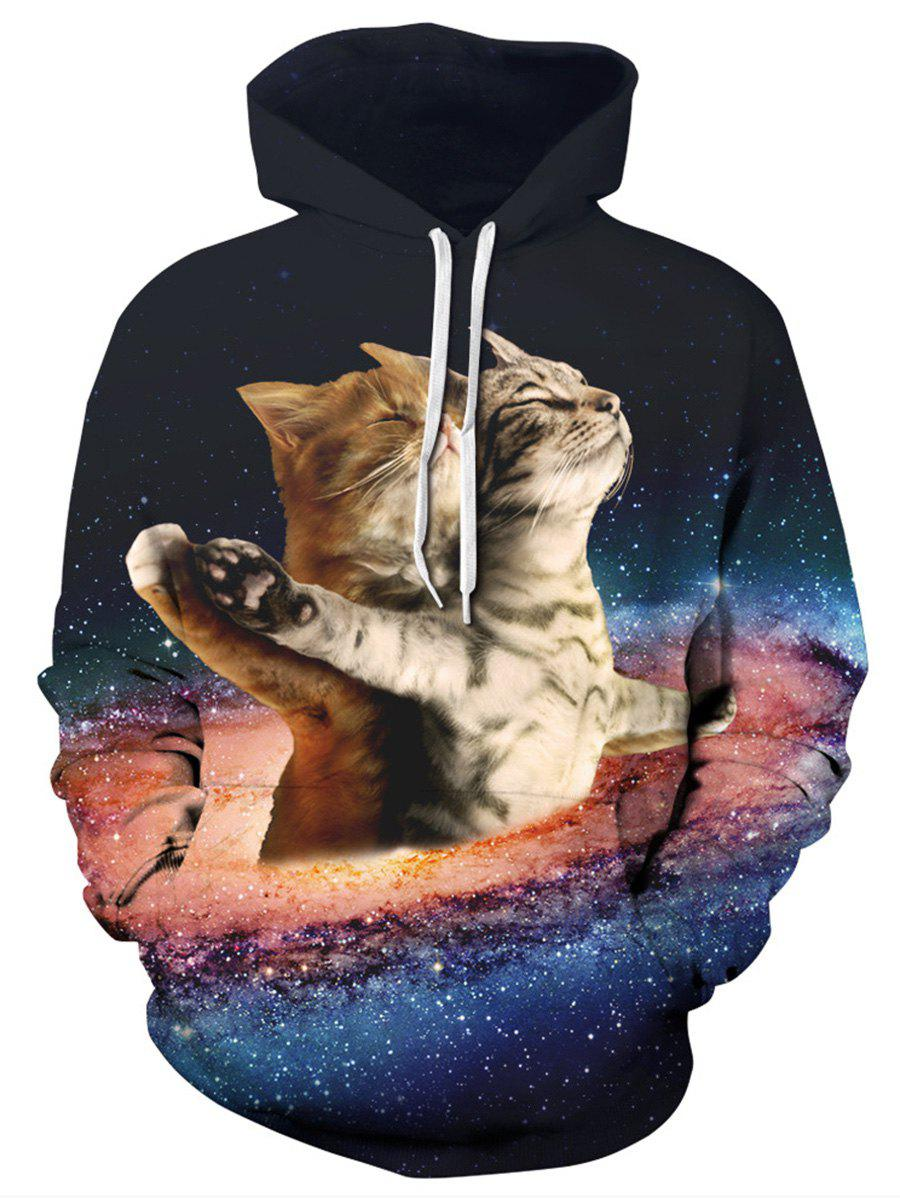Buy Starry Sky Cats Print Kangaroo Pocket Hoodie