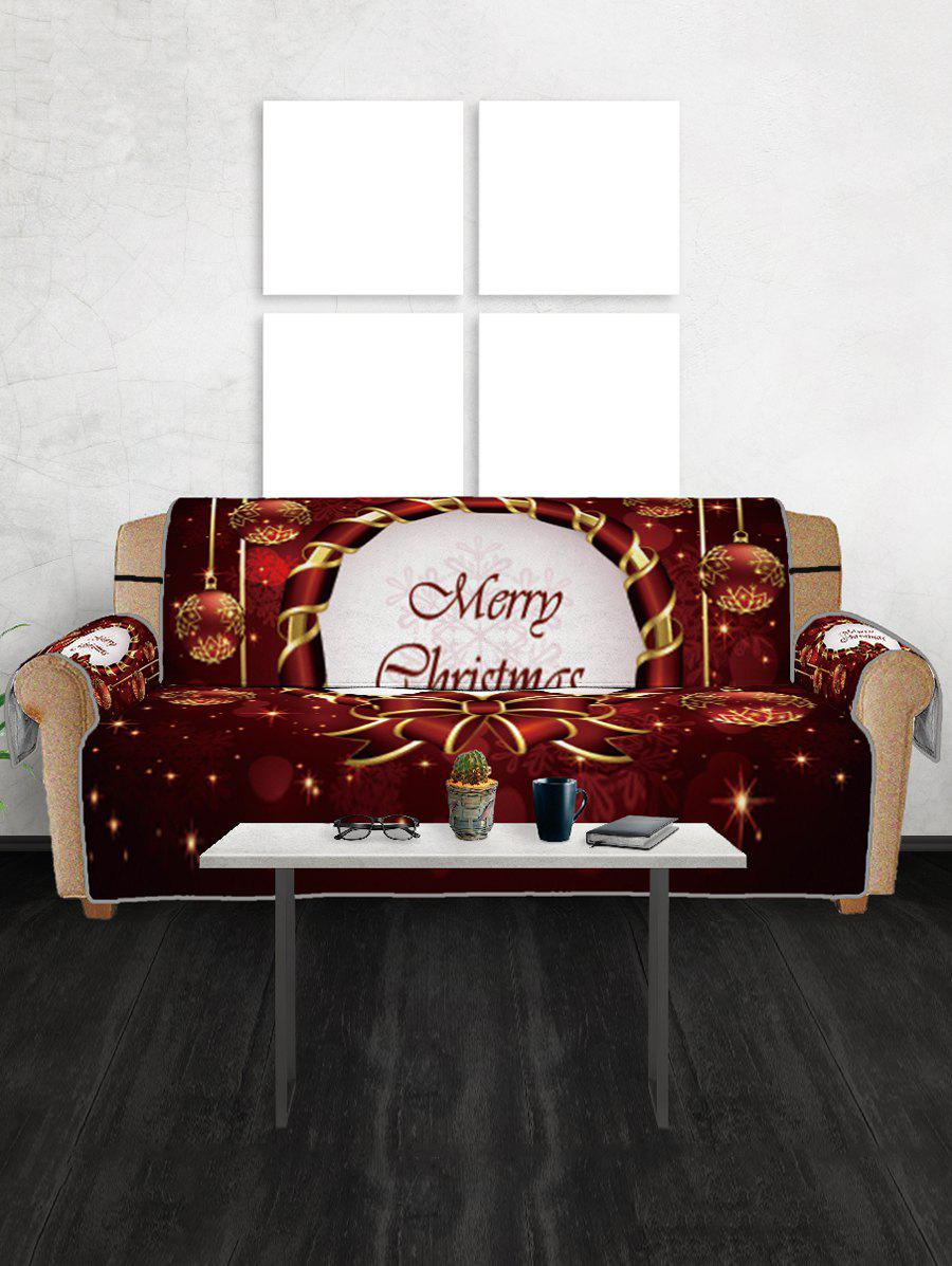 50 Off 2019 Christmas Bowknot Baubles Printed Sofa Cover