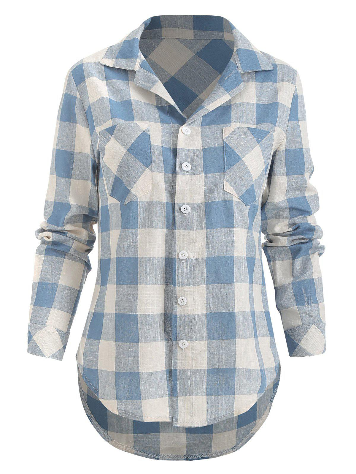 Outfits Long Sleeve Checked Breast Pocket Shirt