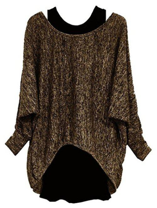Store Plus Size Batwing Sleeve Two Piece Pullover Sweater