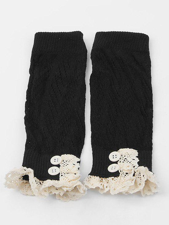 Affordable Lace Buttons Side Knitted Leg Warmers