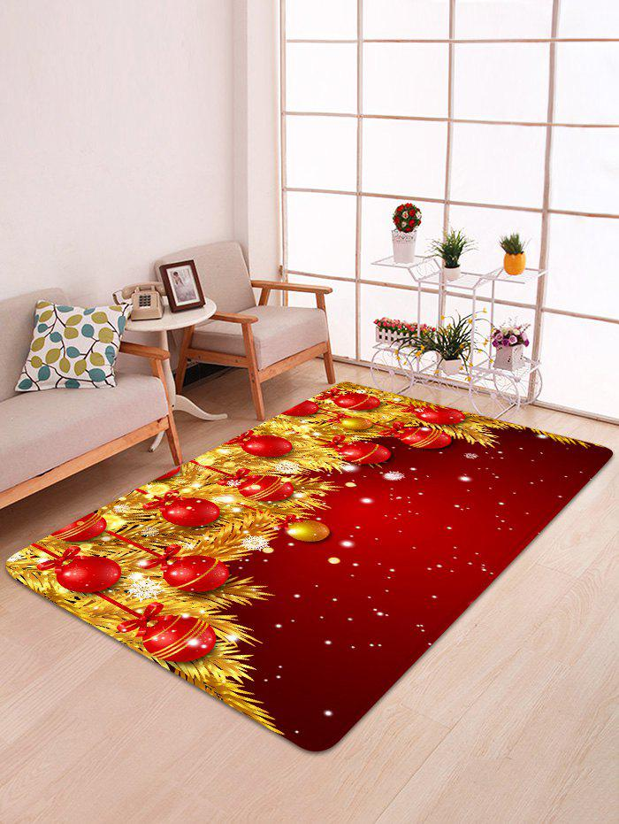 Shop Christmas Ball Gold Leaves Pattern Non-slip Area Rug