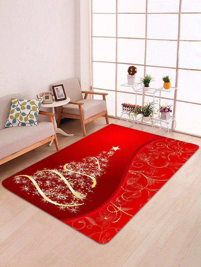New Christmas Tree and Star Print Water Absorption Area Rug