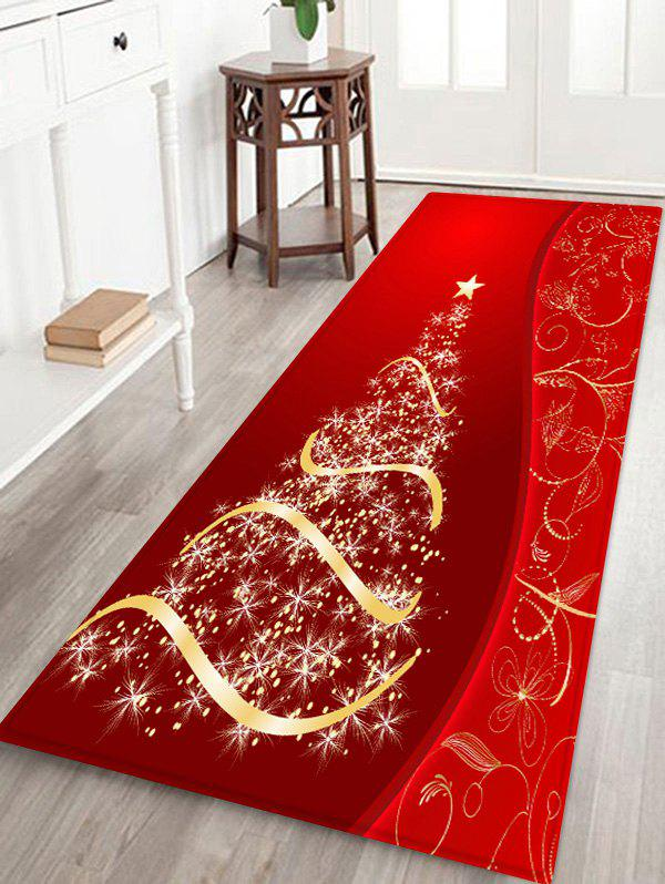 Fancy Christmas Tree and Star Print Water Absorption Area Rug
