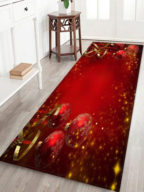 Cheap Red Christmas Balls Pattern Non-slip Area Rug