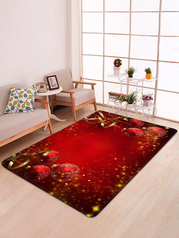Discount Red Christmas Balls Pattern Non-slip Area Rug