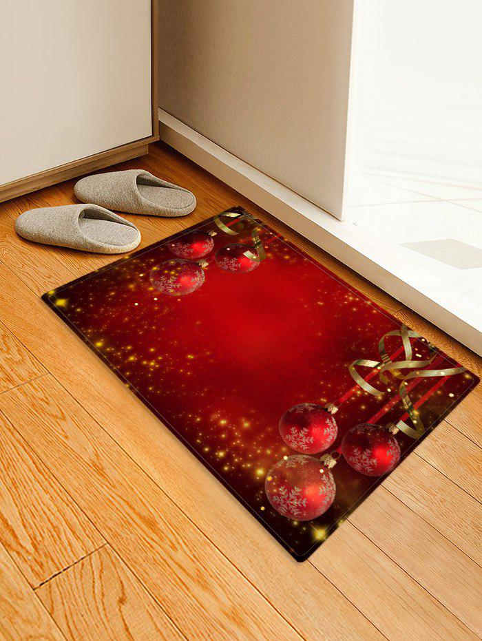 Hot Red Christmas Balls Pattern Non-slip Area Rug