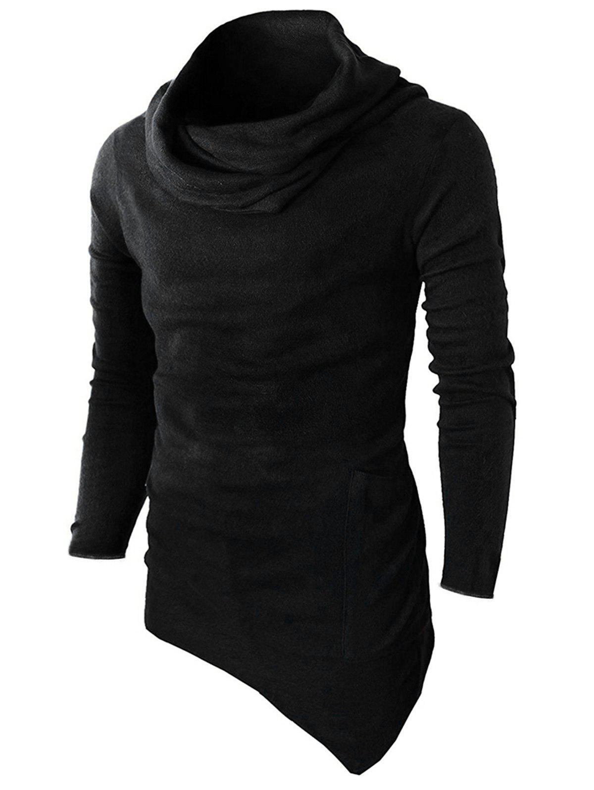 Discount Cowl Neck Asymmetric Sweater with Side Pocket