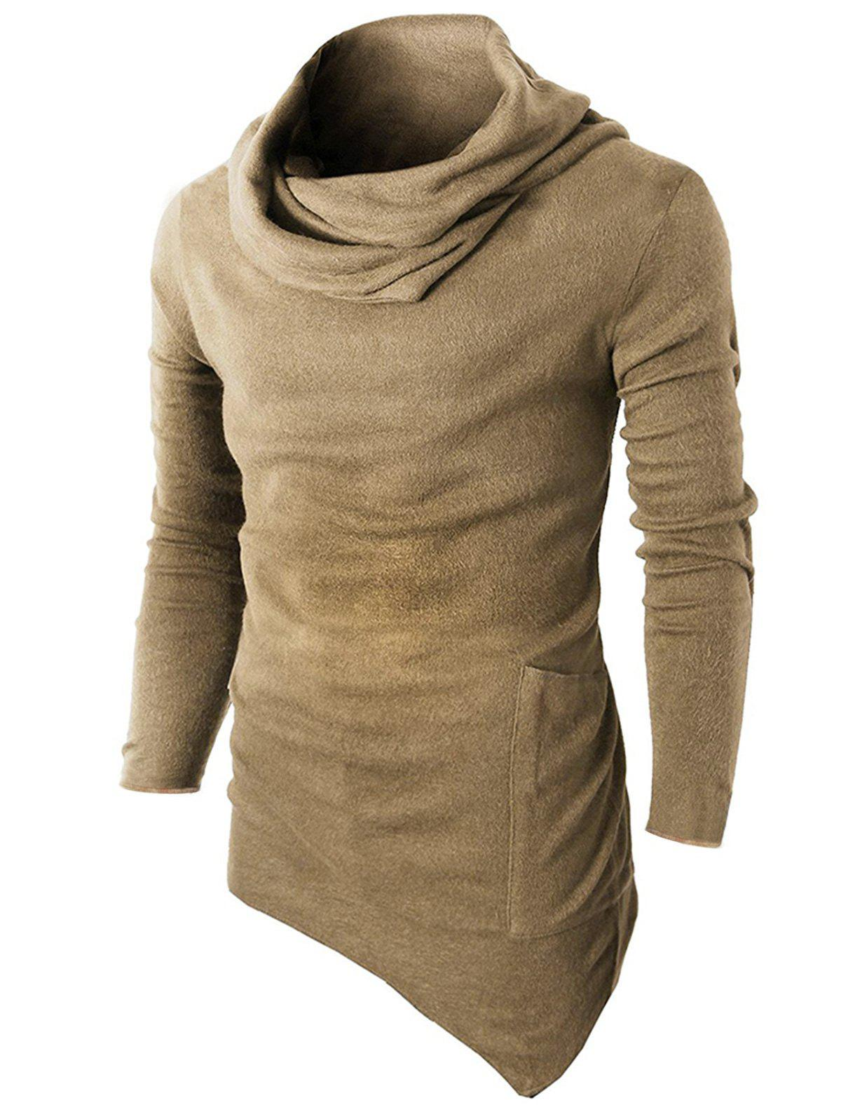 New Cowl Neck Asymmetric Sweater with Side Pocket