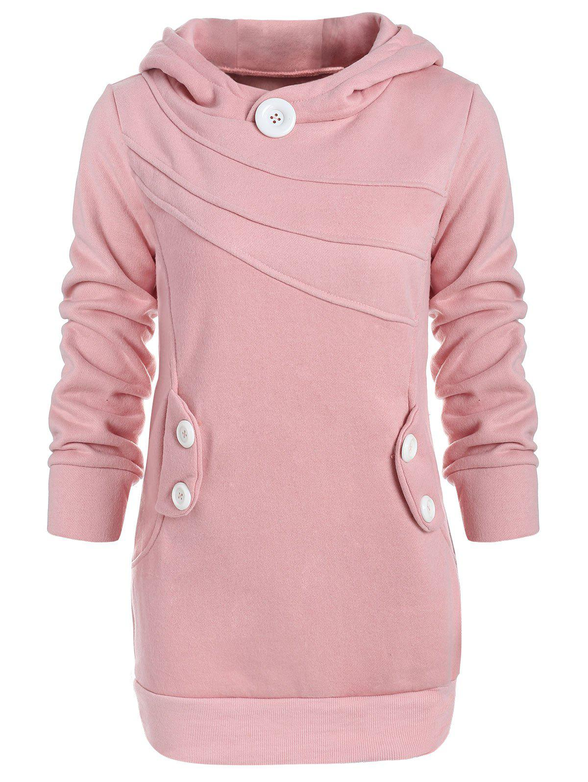 Trendy Casual Hooded Button Pocket Splicing Long Sleeves Thickened Loose-Fitting Women's Hoodie