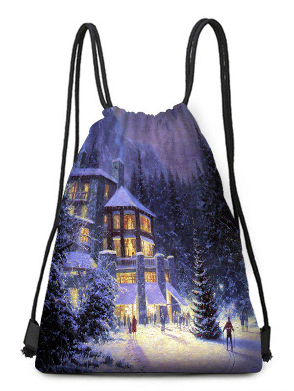 Sale Christmas House Forest Print Drawstring Candy Bag