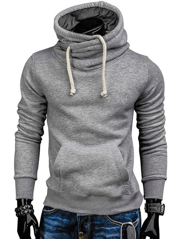 Online Whole Colored Drawstring Casual Hoodie