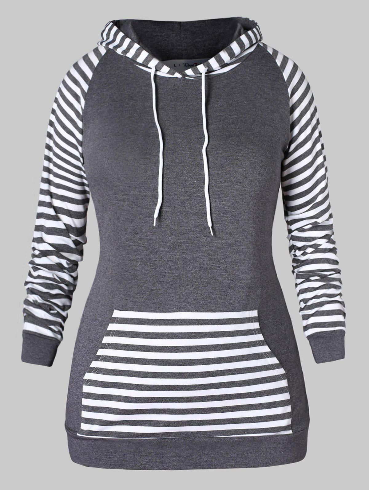 Affordable Plus Size Raglan Sleeve Stripe Pattern Hoodie