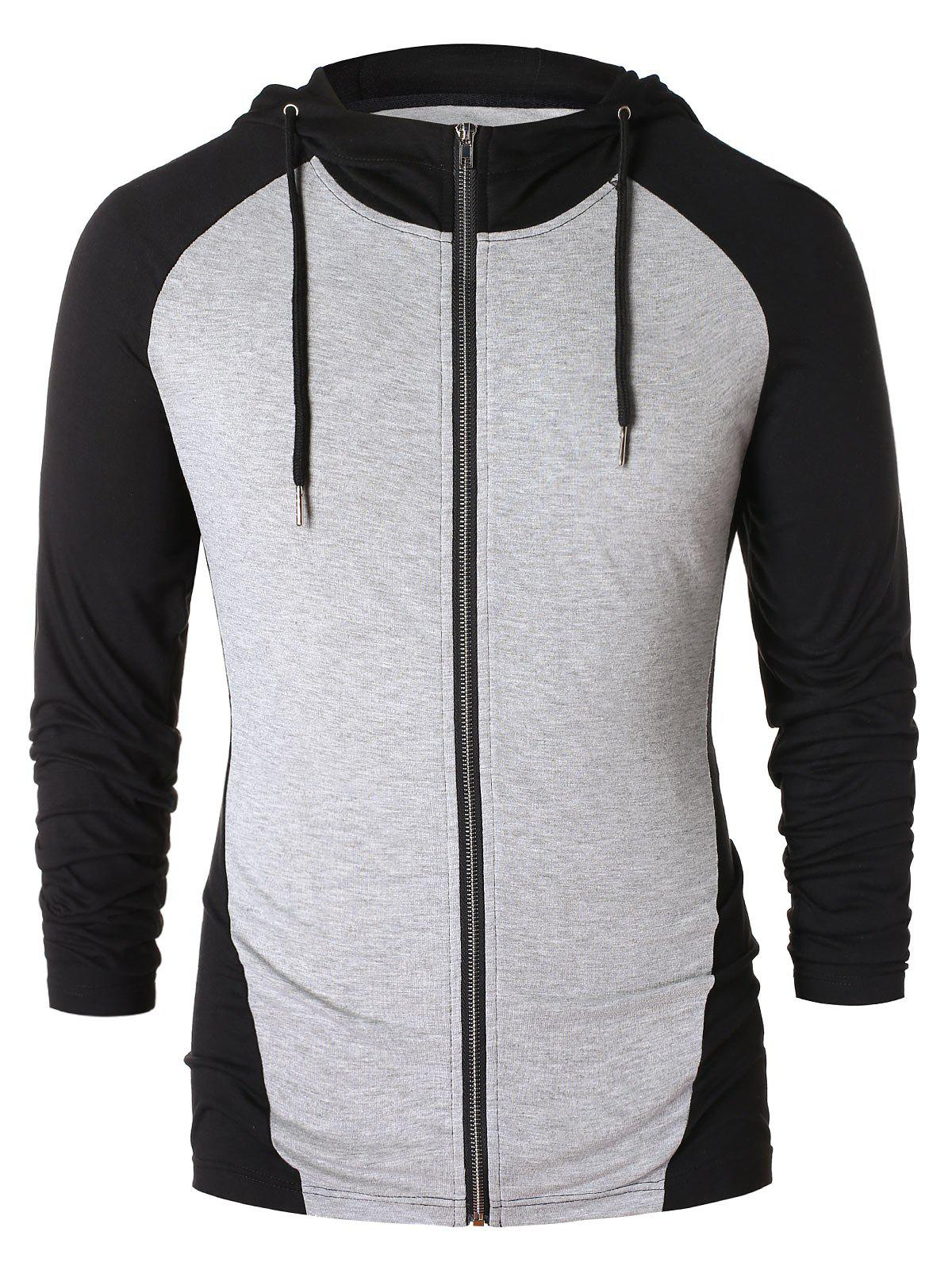 Outfits Raglan Sleeve Drawstring Color Block Hoodie