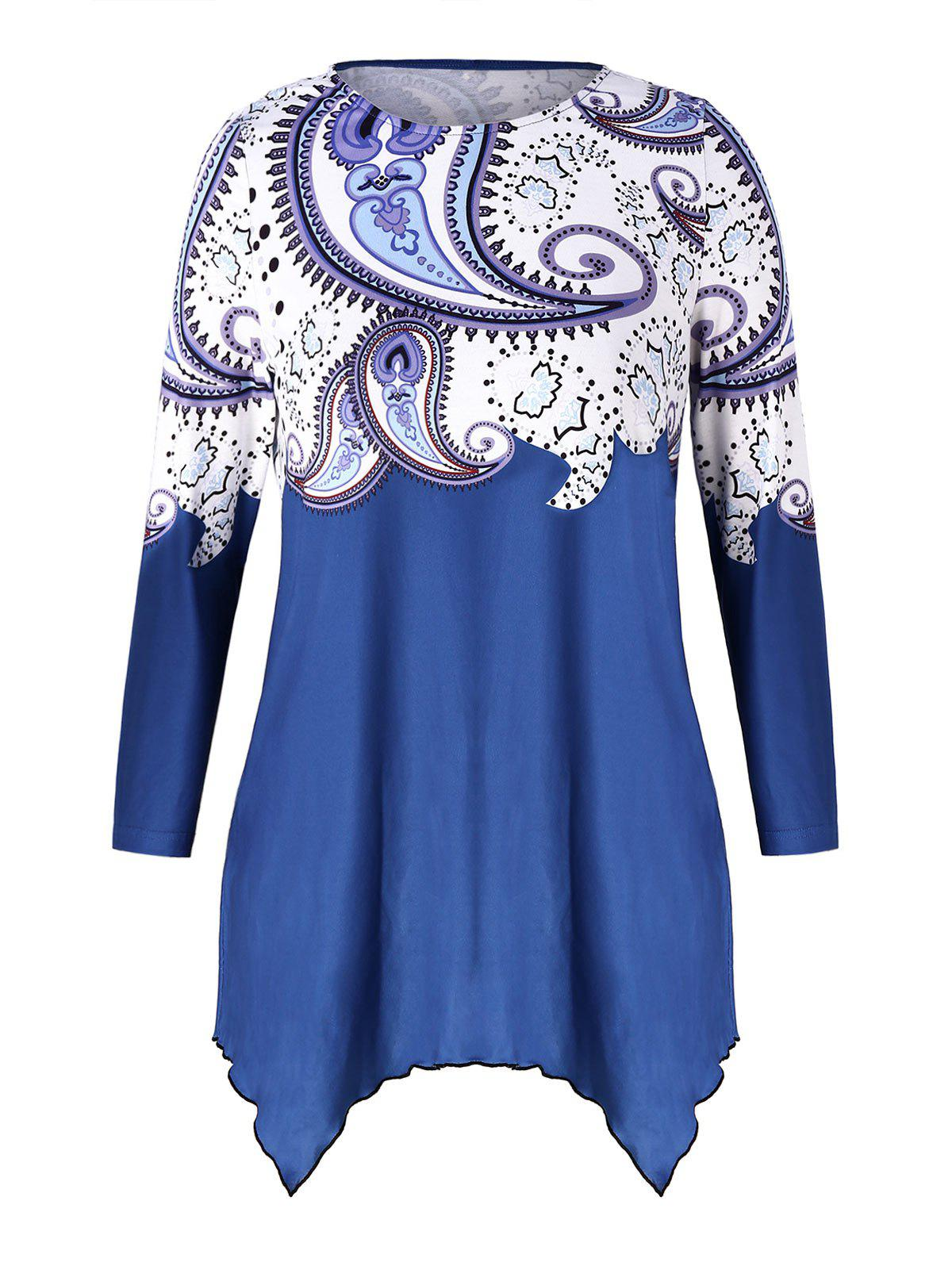 Latest Plus Size Printed High Low T-shirt