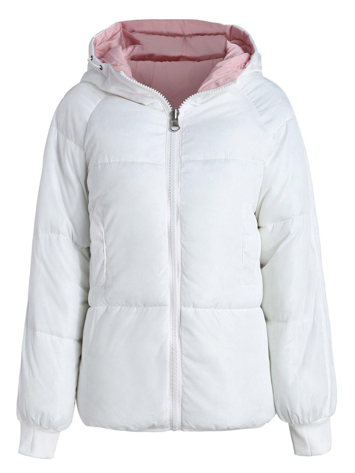 Fancy Color Block Hooded Padded Jacket