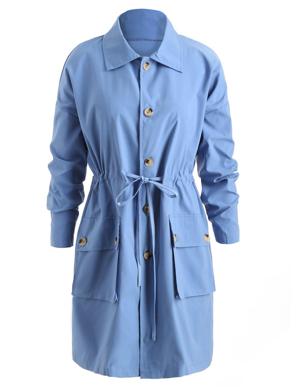 Latest Double Pocket Drawstring Coat