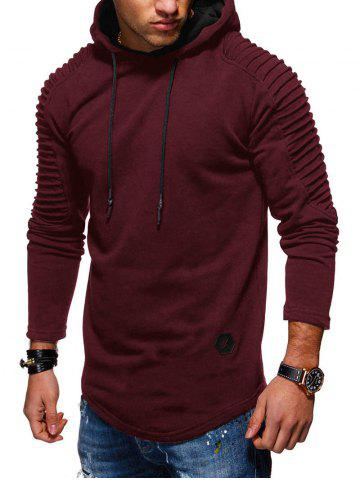 Solid Pleated Sleeve Hem Curved Long Fleece Hoodie