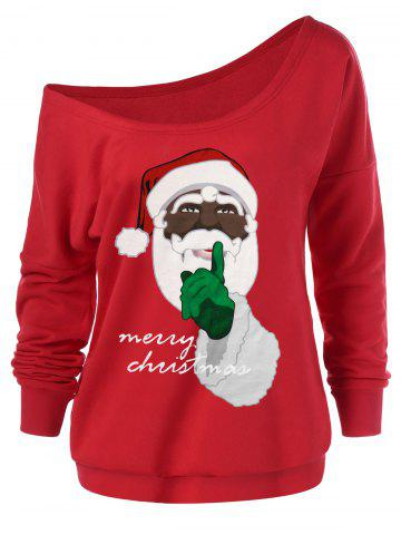 Plus Size Pullover Christmas Santa Claus Sweatshirt - RED - L