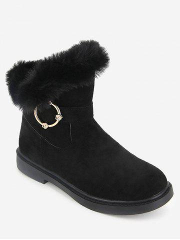 Faux Fur Studs Embellished Mid Calf Boots