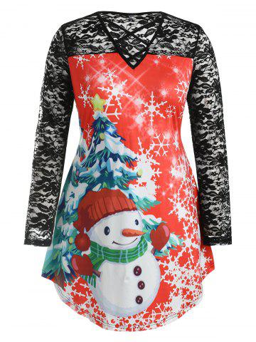 Plus Size Christmas Graphic Longline Tee with Lace