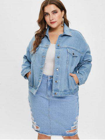 44236209c5 Plus Size Drop Shoulder Denim Jacket