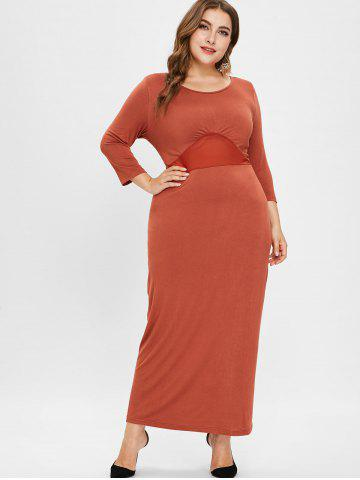 see through plus size lace panel maxi dress