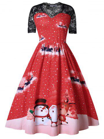 Plus Size Printed Lace Insert Christmas Dress