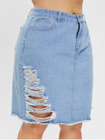 Plus Size Denim Skirt with Ripped