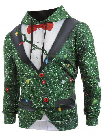 Christmas String Light Faux Collar Printed Drawstring Hoodie