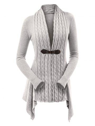 Cable Knit Asymmetrical Long Cardigan