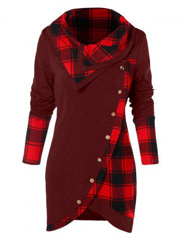Tartan Panel Long Sleeve Asymmetrical T-shirt