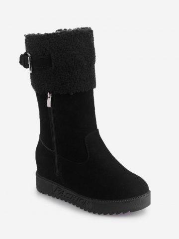 Hidden Wedge Faux Fur Mid Calf Boots