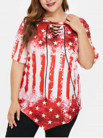 Plus Size American Flag Tee with Lace Up - RED - L
