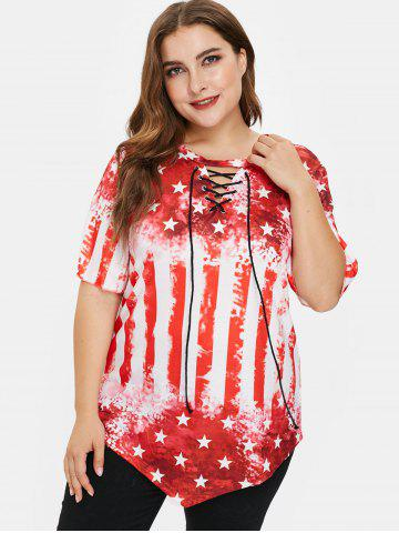 Plus Size American Flag Tee with Lace Up