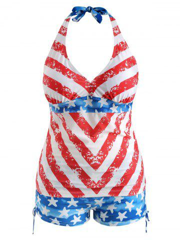 American Flag Print Plus Size Halter Neck Tankini Set