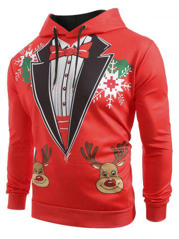 Christmas Deer Snowflakes Faux Collar Print Casual Hoodie - from $23.57