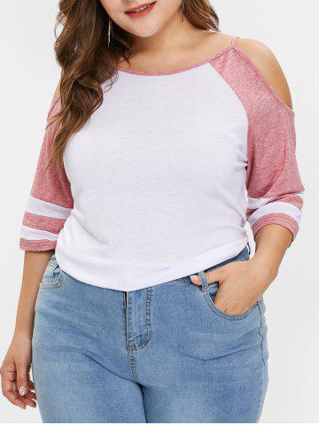 Plus Size Cold Shoulder Contrast Tee - PINK - L