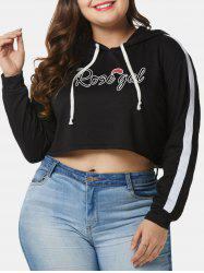 Plus Size Letters Pullover Cropped Hoodie -