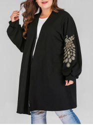 Plus Size Open Front Beading Peacock Pattern Coat -