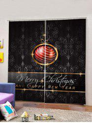 2PCS Merry Christmas Letter Print Waterproof Window Curtains -