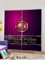 2PCS Merry Christmas Ball Printed Waterproof Window Curtains -