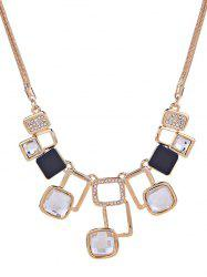 Rhinestone Hollow Geometric Statement Necklace -