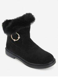 Faux Fur Studs Embellished Mid Calf Boots -