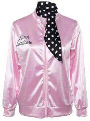Letter Print Plus Size Jacket with Polka Dot Handkerchief -