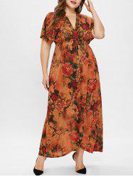 Plunging Neck Plus Size Floral Print Maxi Dress -
